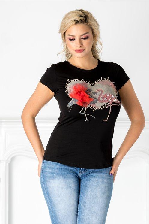 Tricou negru cu flamingo si floare 3D aplicata