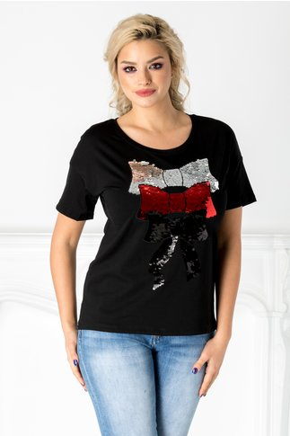 Tricou negru cu fundite din paiete reversibile