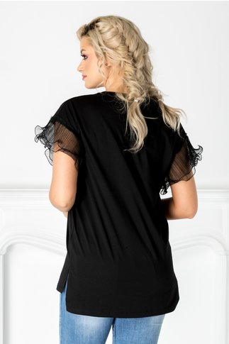 Tricou negru cu maneci din tull plisat