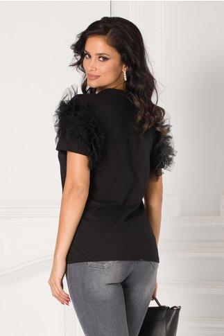 Tricou negru cu volane din tull la maneci