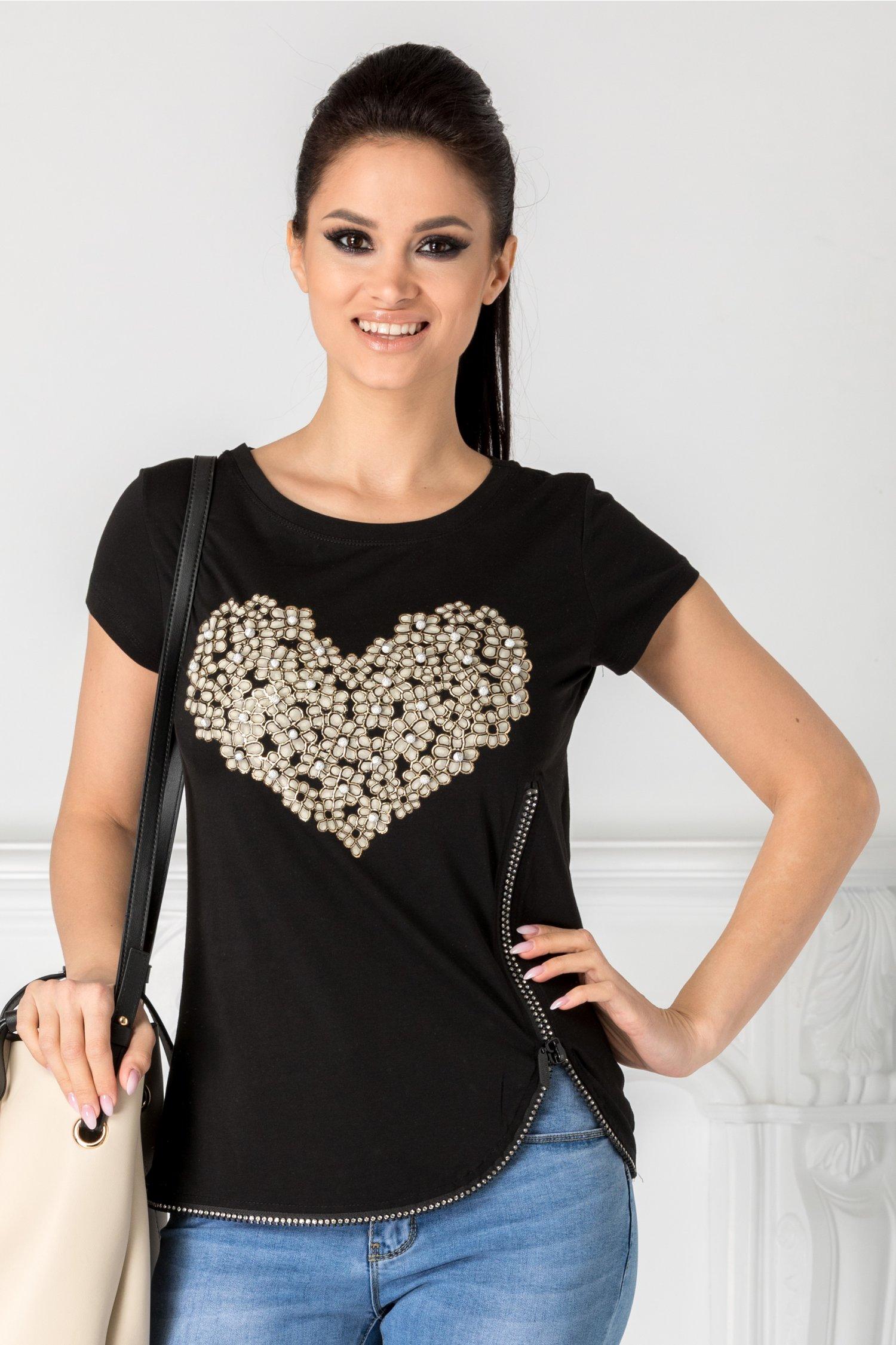 Tricou negru heart cu fermoar pe o parte