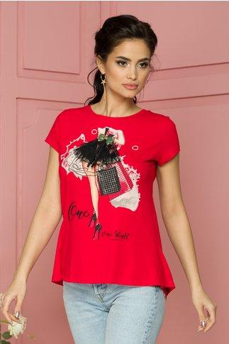 Tricou One rosu cu imprimeu si insertii din tull