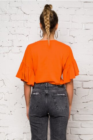 Tricou orange LaDonna by Catalin Botezatu cu maneci evazate si imprimeu maxi