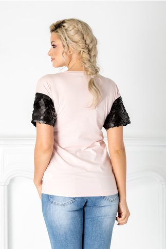 Tricou Parmy roz cu maneci din paiete