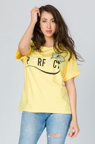 Tricou Perfect galben pal cu imprimeu si strasuri