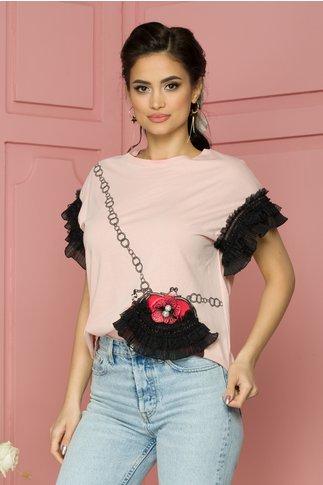 Tricou Purse roz cu imprimeu corai si volanase la maneci