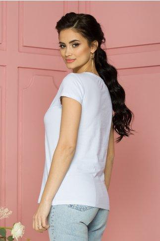 Tricou Rose alb cu imprimeu albastru si aplicatii din margele si paiete
