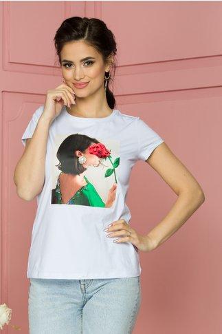 Tricou Rose alb cu imprimeu rosu si aplicatii din margele si paiete