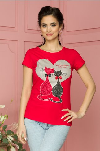 Tricou rosu cu pisici in strasuri