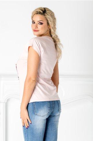 Tricou roz cu buze din paiete