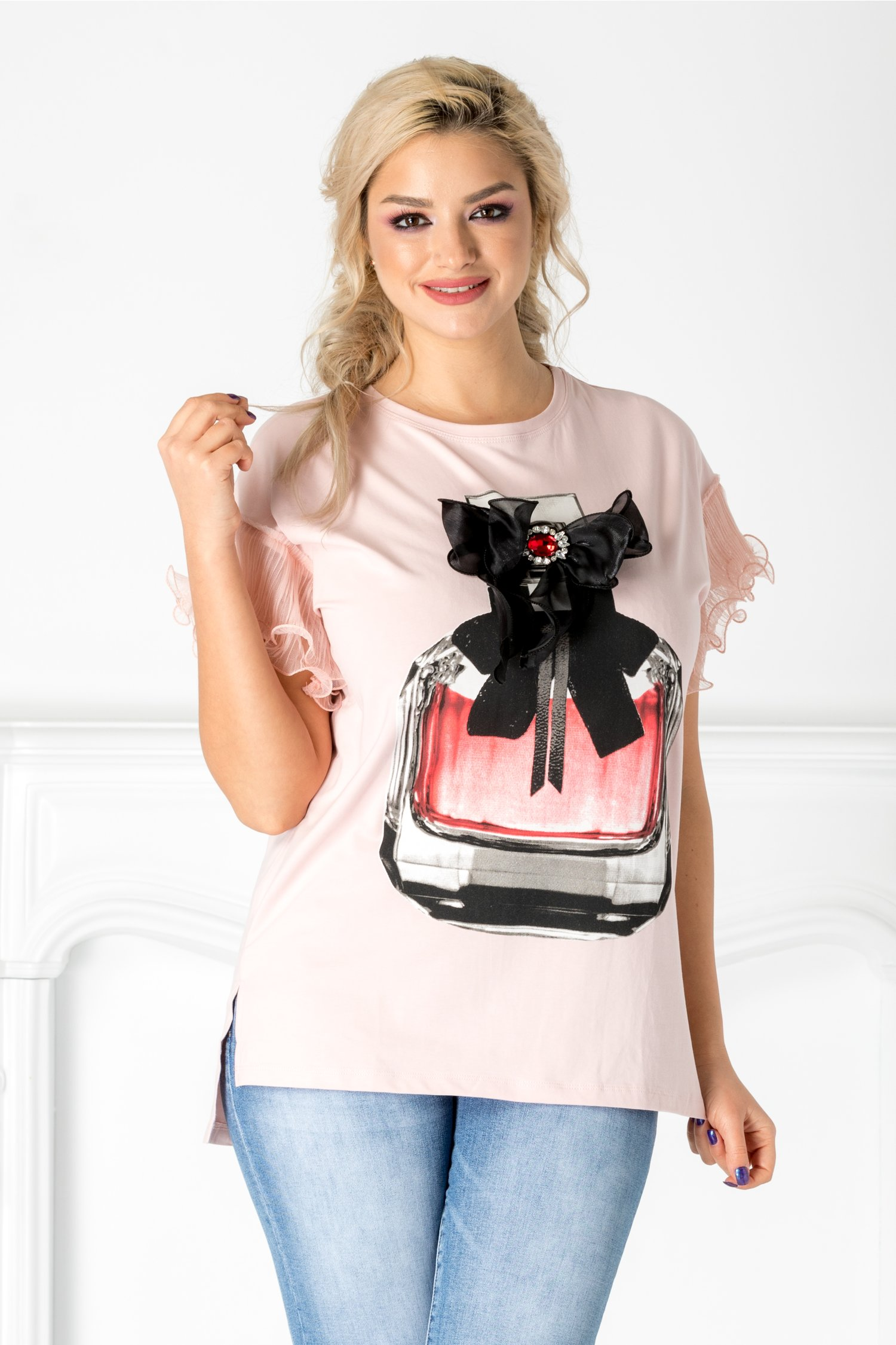 Tricou roz cu maneci din tull plisat
