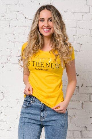 Tricou Shopping galben cu imprimeu text