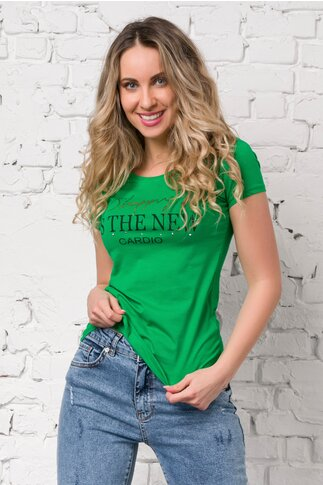 Tricou Shopping verde cu imprimeu text