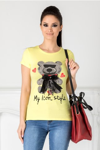 Tricou Teddy galben cu ursulet si funda maxi