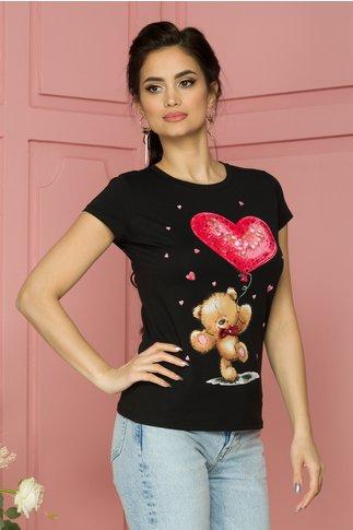 Tricou Teddy negru cu imprimeu si paiete