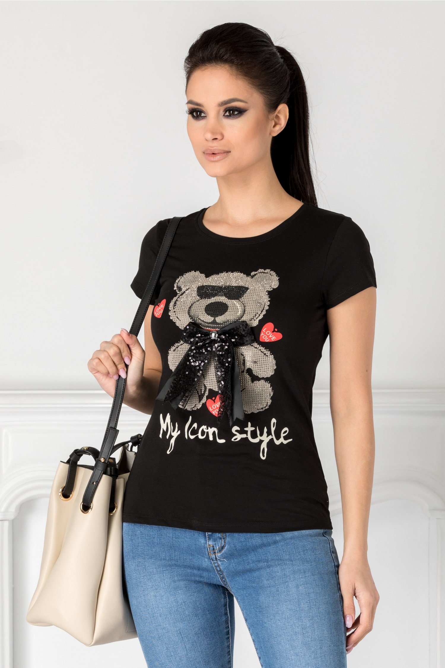 Tricou Teddy negru cu ursulet si funda maxi
