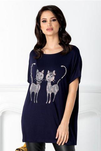 Tricou Tomy bleumarin cu pisicute