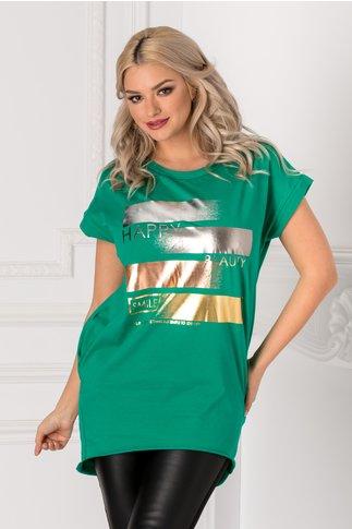 Tricou verde lung lejer cu insertii argintii pe fata