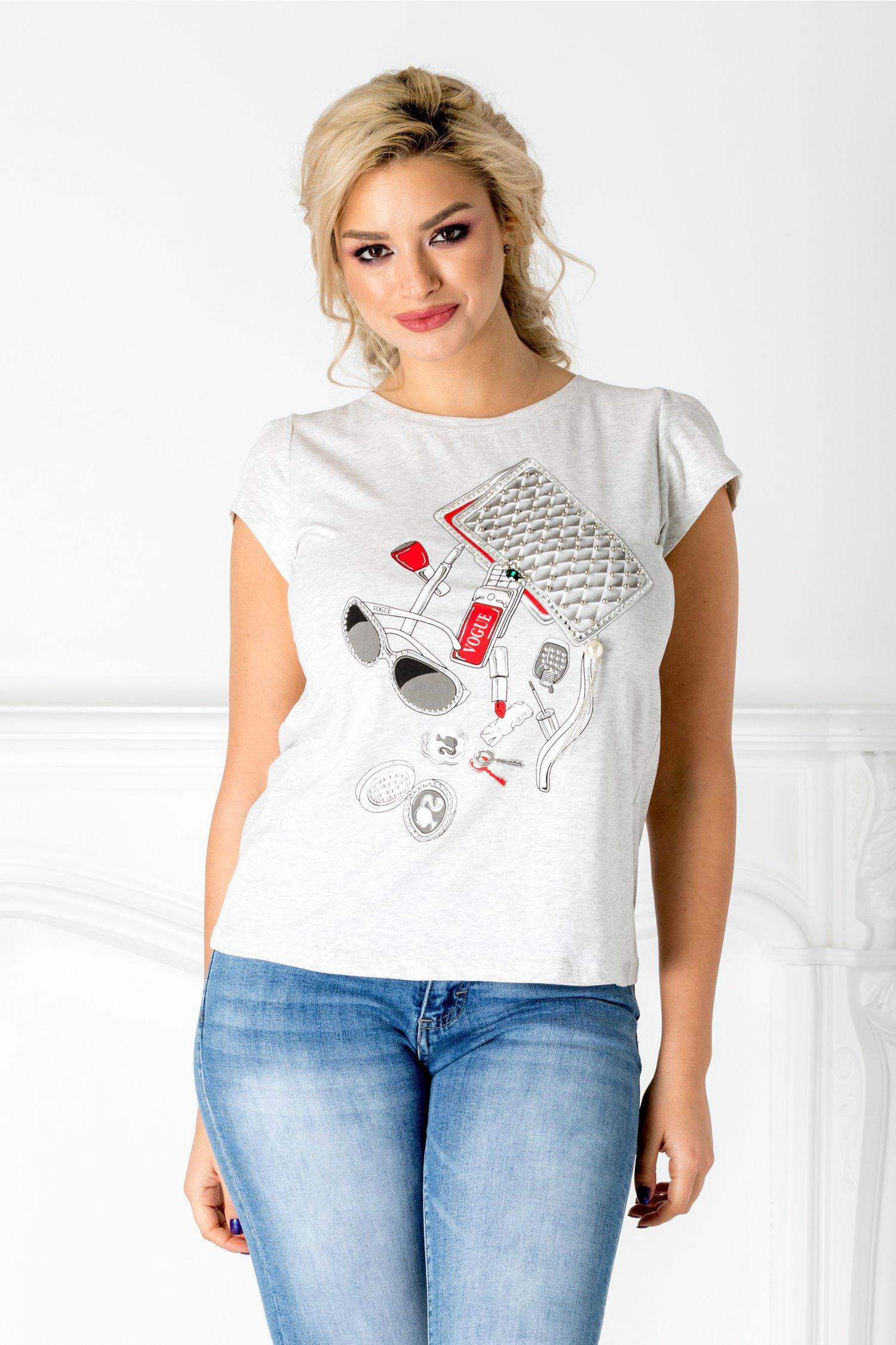 Tricou Vogue gri cu imprimeu fashion si perlute