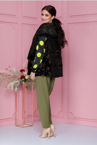 Vesta kaki cu imprimeu floral din blanita