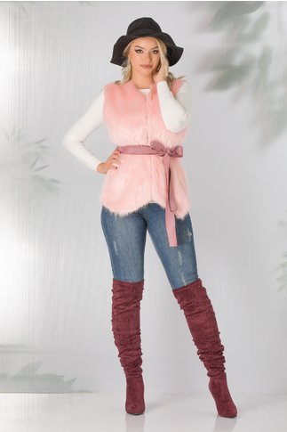 Vesta lila cu blanita roz si cordon in talie
