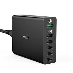 Incarcator de retea Anker PowerPort+ Qualcomm Quick Charge 2.0 60W 6 porturi USB PowerIQ Negru