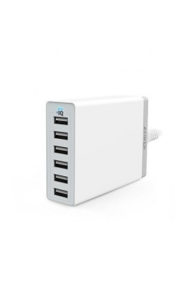Incarcator de retea Anker PowerPort+ Qualcomm Quick Charge 2.0 60W 6 porturi USB PowerIQ Alb