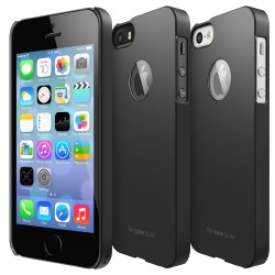 Husa iPhone 5/5s iPhone SE Ringke SLIM SF BLACK LOGO CUT+BONUS folie protectie display Ringke