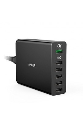 Incarcator de retea Anker PowerPort+ Qualcomm Quick Charge 3.0 60W 6 porturi USB PowerIQ Negru