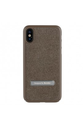 Husa iPhone X Benks Brownie maro + functie stand