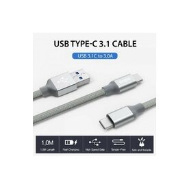 Cablu premium Ringke USB-C USB 3.0 argintiu 1 metru