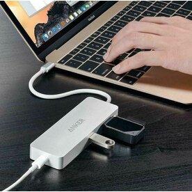 Hub Anker Premium USB-C, Gigabit Ethernet, 2xUSB 3.0, Power Delivery, Argintiu