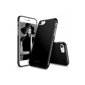 Husa iPhone 7 / iPhone 8 Ringke SLIM GLOSS BLACK + BONUS folie protectie display Ringke