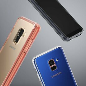Husa Samsung Galaxy A8 2018 Ringke SMOKE BLACK + BONUS folie protectie display Ringke