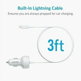 Incarcator auto Anker PowerDrive 2 Elite 1xUSB si conector Lightning Alb
