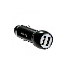 Incarcator auto Qualcomm Quick Charge 3.0 Benks Dual Metal negru