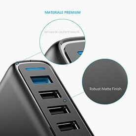 Incarcator de retea Anker PowerPort+ 5 Qualcomm Quick Charge 3.0 63W 5 porturi USB PowerIQ Negru