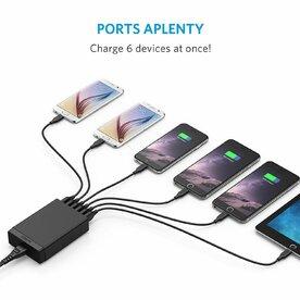 Incarcator de retea Anker PowerPort Lite 30W 6 porturi USB PowerIQ Negru