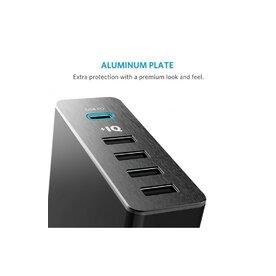 Incarcator de retea premium Anker PowerPort+ 5 60W 1xUSB-C 4xUSB 3.0 cu Power Delivery si PowerIQ Negru