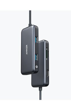 Media Hub Anker PowerExpand, 7-in-1, 4K HDMI, 100W Power Delivery, USB-C,  2xUSB-A, microSD, SD Card Reader, Negru