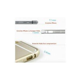 Set bumper aluminiu iPhone 6 Plus gri Hoda Taiwan + folie sticla fata 0.33 + folie spate