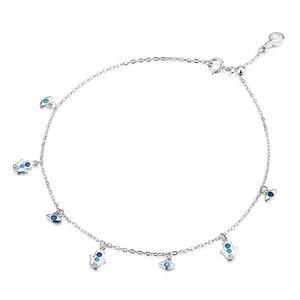 Bratara de glezna din argint Blue Fatima Chain