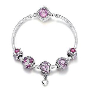 Bratara din argint 925 cu Talismane Infinite Pink Flowers