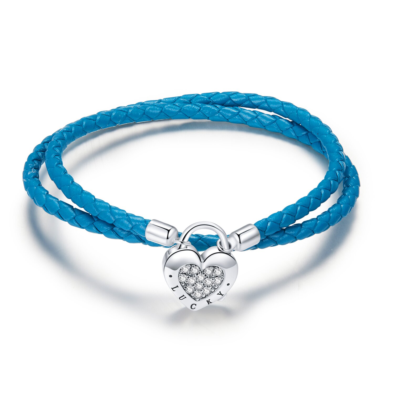 bratara din argint blue leather lock 86302 4