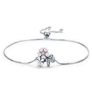 Bratara din argint cu Flori Colorate