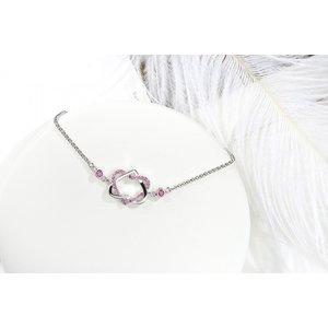Bratara din argint cu Inimi si Cristale Roz
