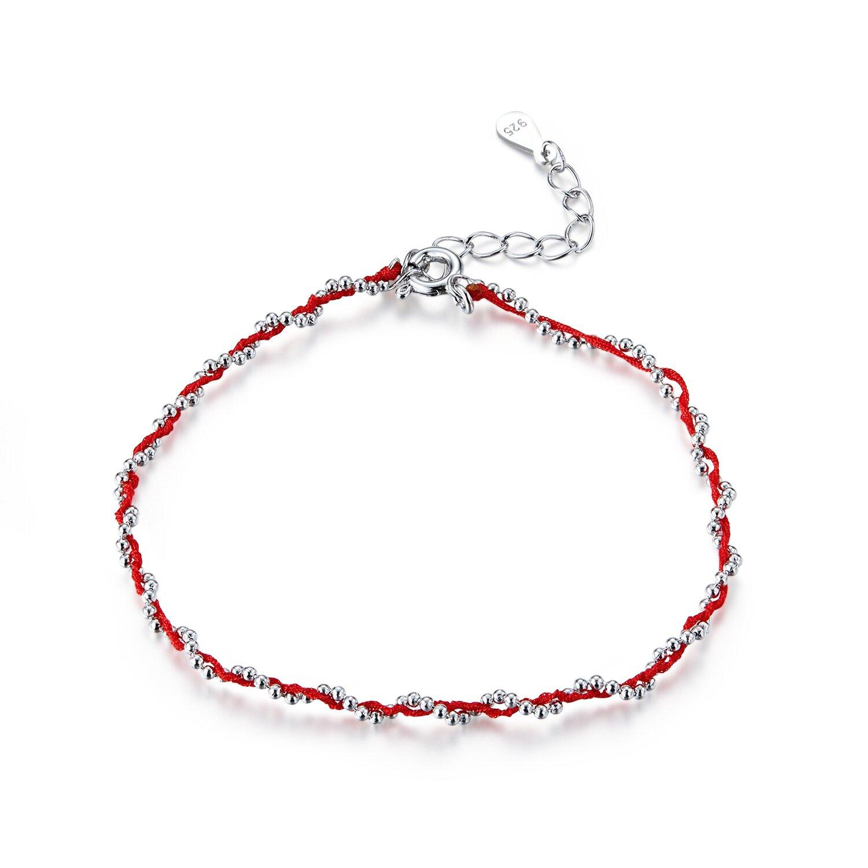 Bratara din argint cu snur Red Beads poza 2021