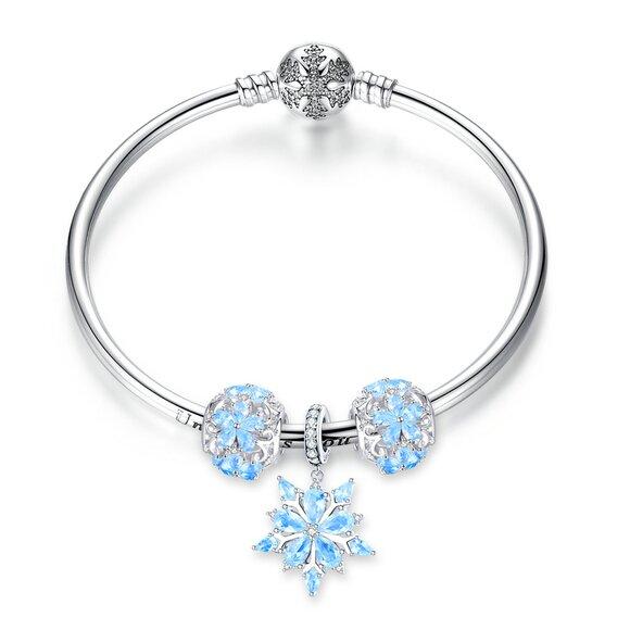 Bratara din argint cu talismane Winter Magic
