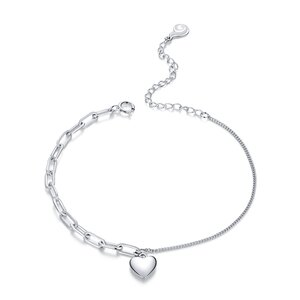 Bratara din argint Double Chain Heart