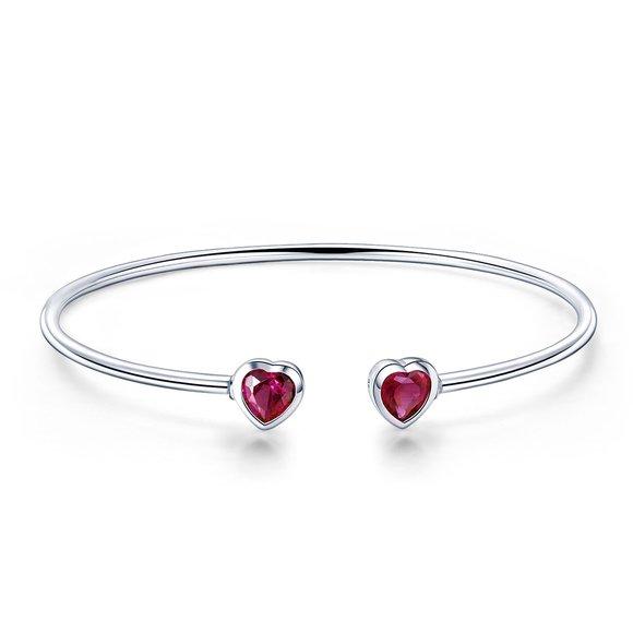Bratara din argint Double Red Heart